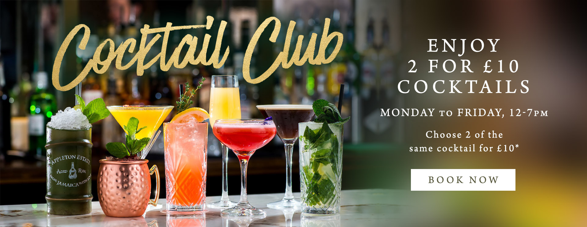 2 for £10 cocktails at The Encore
