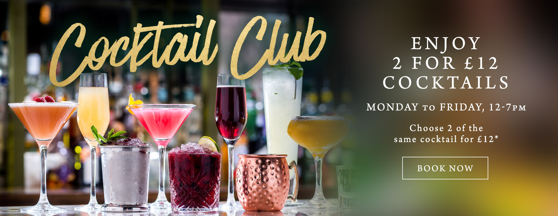 2 for £12 cocktails at The Encore